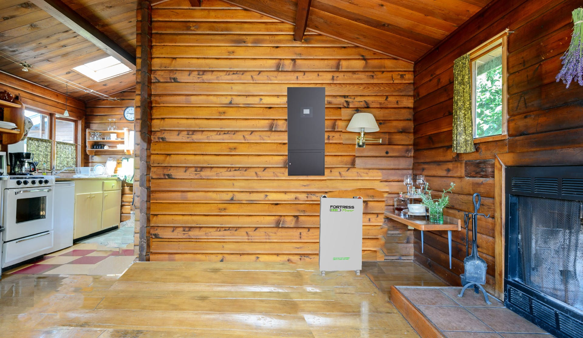 Battery in Log Cabin